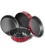4 Pc Retro Red Grey Professional Grade Non-Stick Kitchen Cake Pie Baking... - £35.20 GBP
