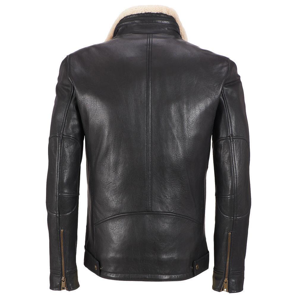 Mens black leather jacket, Men fleece collar leather ...