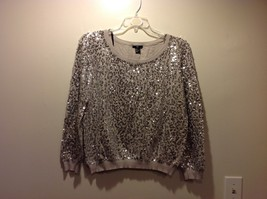 Super Cute H&M Lavender Gray Sequined Long Sleeve Sweater Sz L