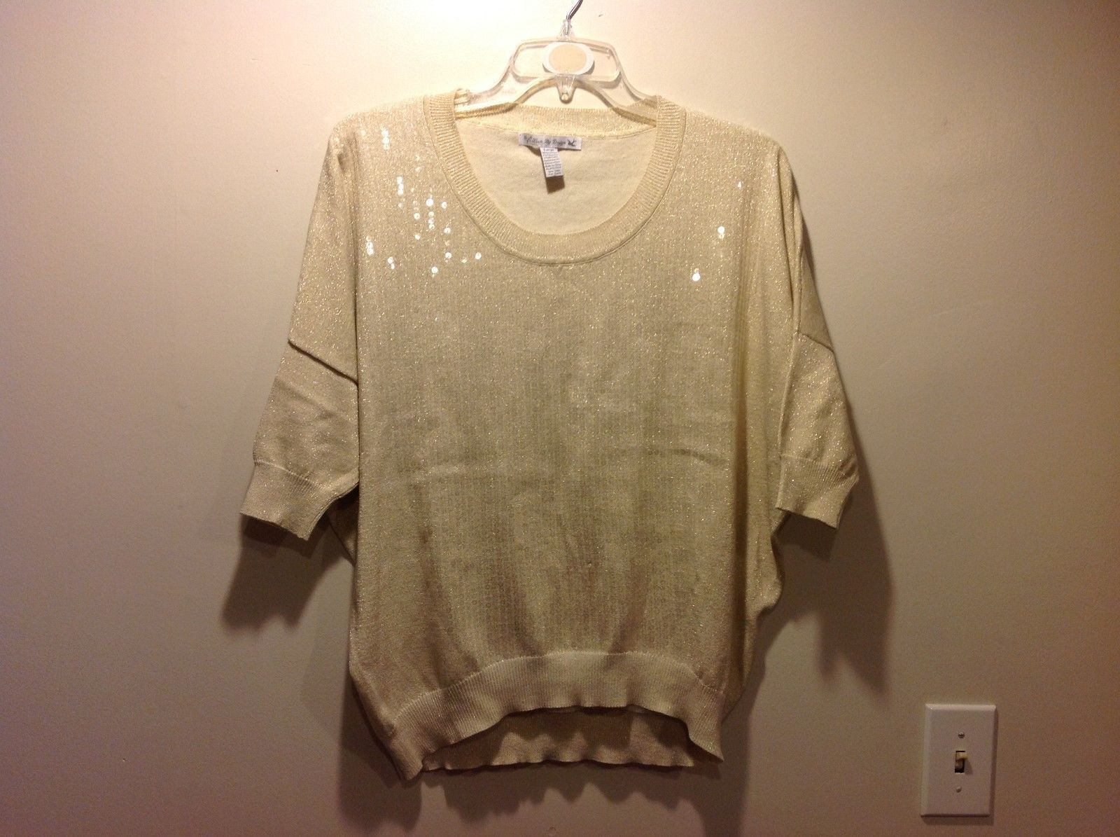 Neutral Tone Clear Sequined and Gold Sparkled Sweater Size Large