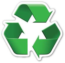 Emoji Recycling logo sign shaped vinyl sticker 100mm or 150mm  - $3.00+