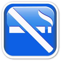 Emoji No Smoking sign shaped vinyl sticker 100mm or 150mm warning shop b... - $3.00+