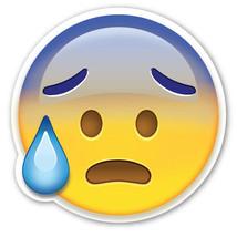Emoji Face Cold Sweat shaped vinyl sticker 100mm or 150mm app iPhone - $3.00+
