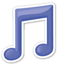 Emoji Musical Note shaped vinyl sticker 100mm or 150mm iPad jazz classic... - $3.00+