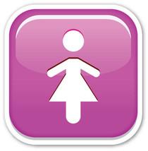 Emoji Women WC Toilet sign shaped vinyl sticker 100mm or 150mm water clo... - $3.00+