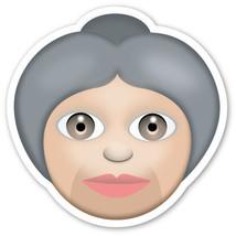 Emoji Old Older Woman shaped vinyl sticker 100mm or 150mm app iPhone - $3.00+