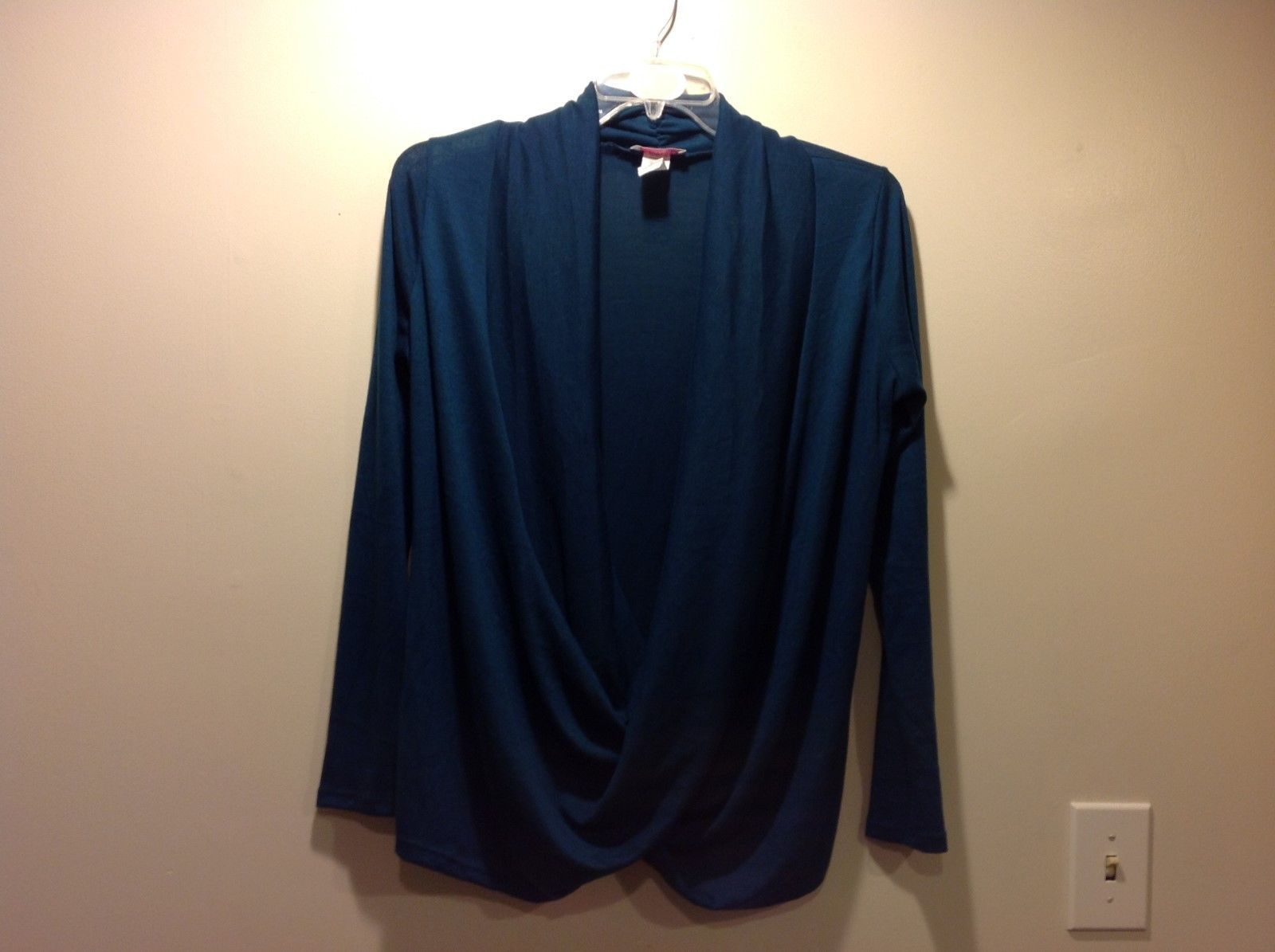 Long Sleeve Stretchy Aquamarine Ocean Blue Shawl Cardigan Sweater Sz 1X