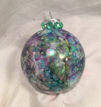 Hand Painted Glass Christmas Ornament Alcohol Ink Green Blue Purple Gold... - $9.99