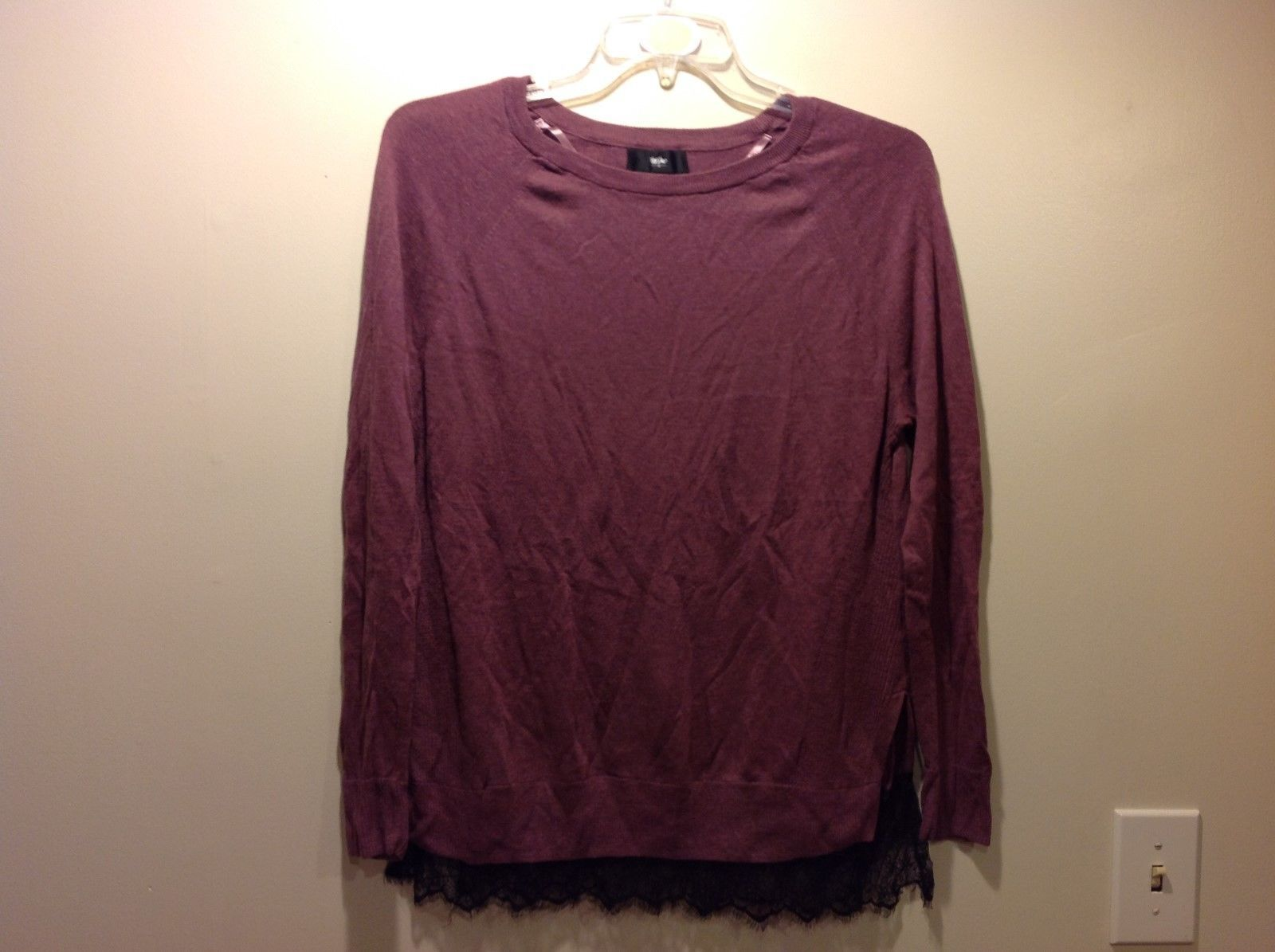 Ladies Wine Purple Side Slitted Thin Sweater Sz XL