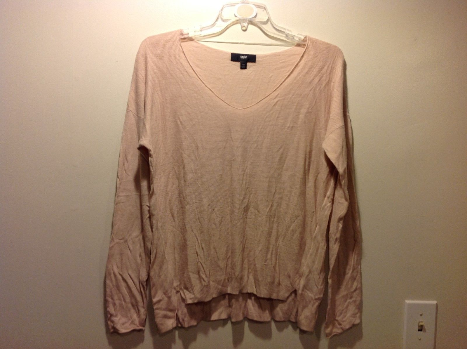 Mossimo Peachy Pink Pastel V Neck Sweater Sz L