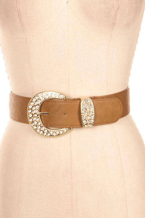 Crystal Studded Buckle Stretch Belt, Wide Stretch Faux Leather Belt, Brown