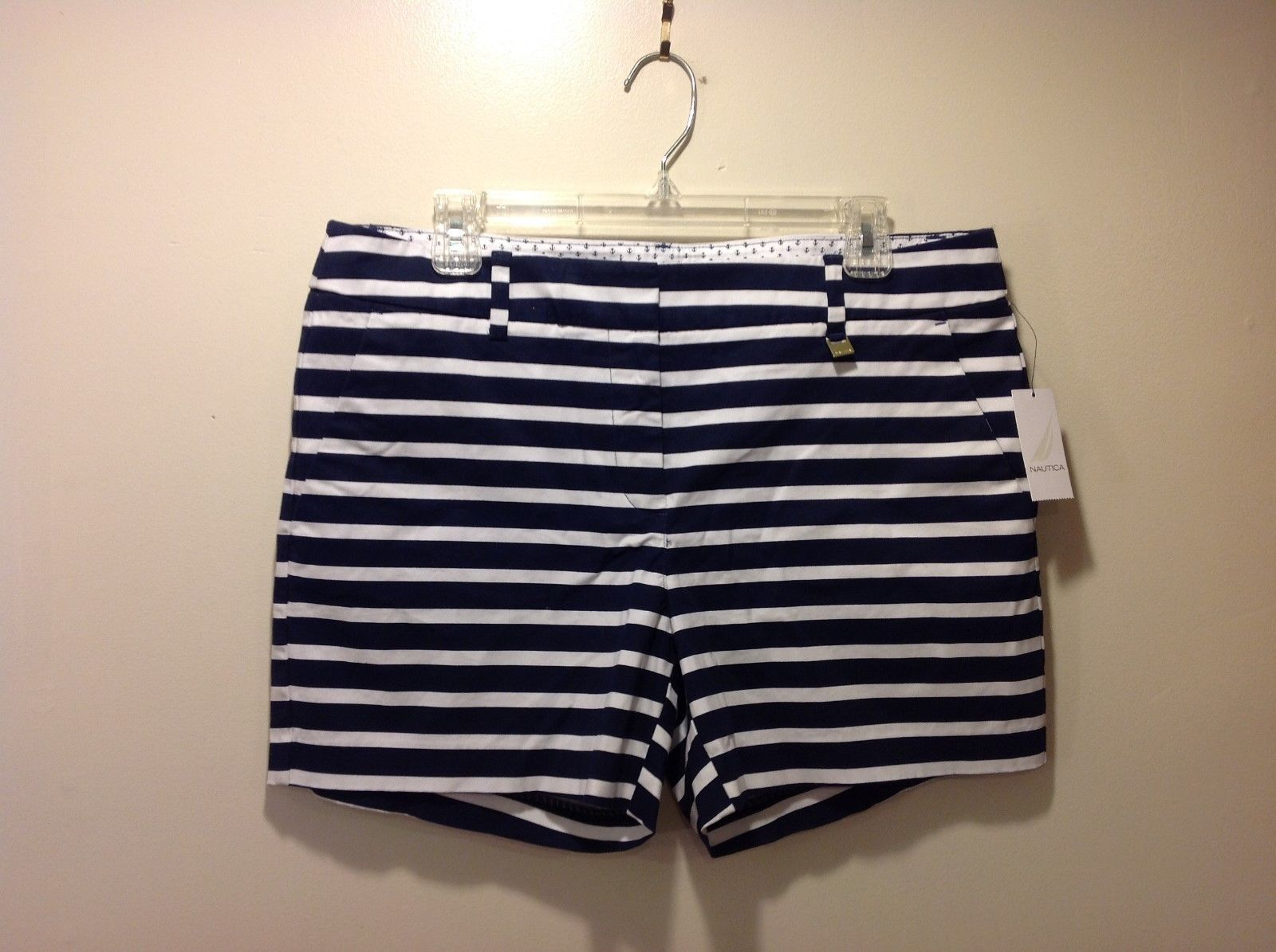 NEW Ladies Blue White Striped Summer Shorts by Nautica Sz 12