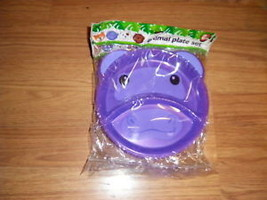 HARD PLASTIC TODDLER DIVIDED PLATE TRAY 2 PACK HIPPO NW - £4.34 GBP