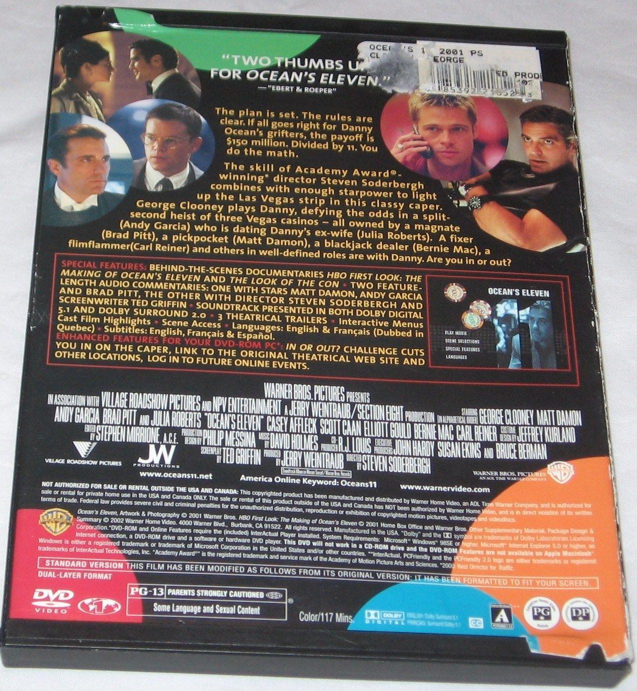 Oceans Eleven DVD 2002 Full Frame Edition George Clooney Brad Pitt Free Ship USA