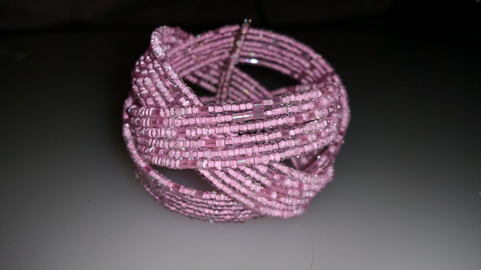 """Chunky"" Pink Seed Bead Cuff Bracelet Adjustable"