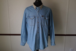 Vtg Woolrich Mens Light Denim Blue Jean Shirt Elbow Patches Khaki Collar XL - $24.14