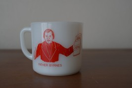 Vintage Father Byrnes 10th Telethon 1982 Milk Glass Anchor Hocking Mug Cup - $24.14