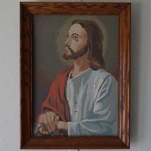 Vintage Oak Framed Paint By Number 42BBB4 Jesus Kitsch / Mid Century Modern - $19.34