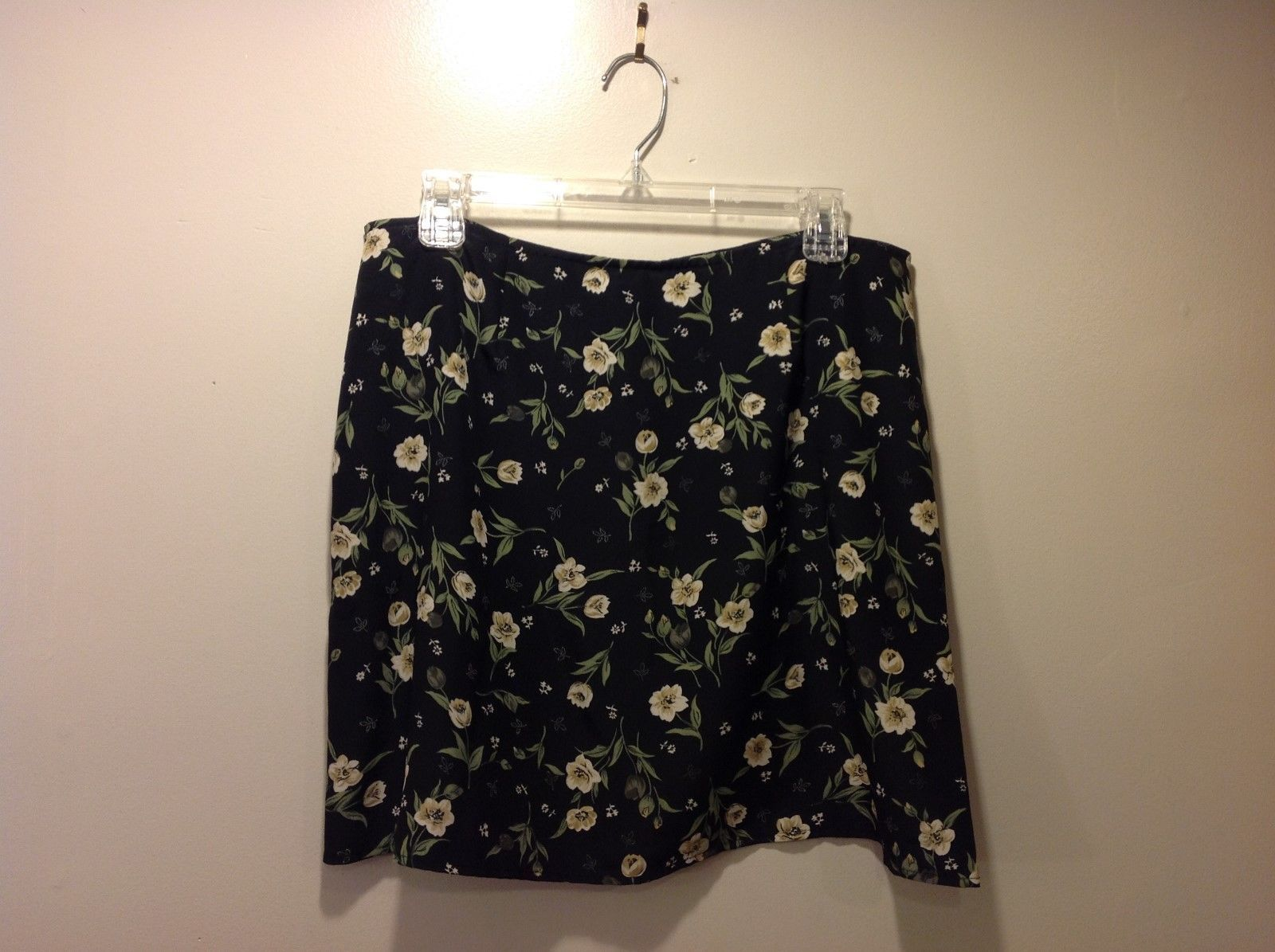 Express Light Thin Black Floral Skirt