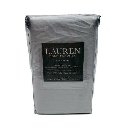 Lauren Ralph Lauren STAFFORD 350TC Gray King Size Pillowcases Wrinkle Resistant - $39.95