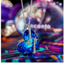 "LadyColour ""Venus"" Shooting Star & Engraved Bermuda Blue Heart Pendant N... - $50.00"