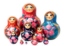 "Multicolor Nesting Doll - 5"" w/ 10 Pieces - $80.00"
