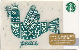 Starbucks 2015 Peace Collectible Gift Card New No Value - $2.99