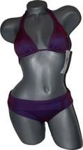 NWT BECCA Rebecca Virtue S bikini swimsuit ruffle trim purple metallic shimmer - $55.28