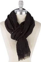 Black Super Soft Shimmer Scarf, Lightweight Layering Scarf, Chic Sequin Scarf