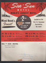 Sea n Sun Motel Miami Beach Florida Brochure 1950s - $15.01