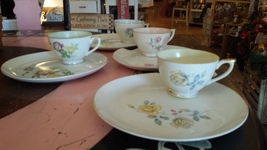 LEFTON FINE CHINA SNACK PLATE & CUP SET of four NE2108 - $60.00