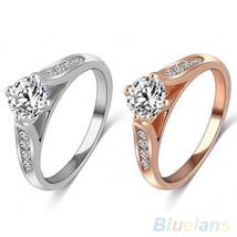 USA Women Bridal Wedding Engagement Zircon Gem Delicate Rose Gold Silver... - $211,01 MXN