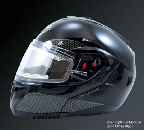 New S Zoan Optimus Gloss Black Modular Snowmobile Snow Helmet w/Electric Shield