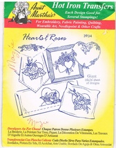 Vintage Aunt Martha's Hot Iron Transfers 3934 Hearts & Roses - $4.99