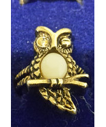 Vintage 14K Gold Plate Owl with Opal Tummy size 6 - $14.99