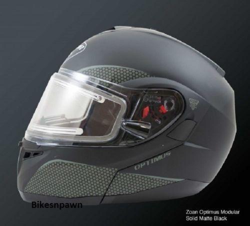 New S Zoan Optimus Matte Black Modular Snowmobile Snow Helmet w/Electric Shield