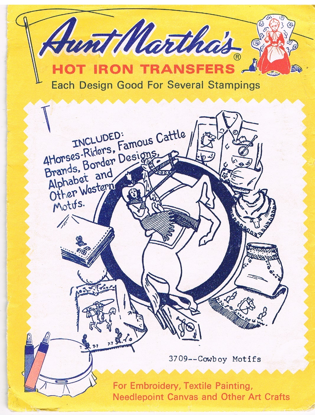 """NEW Vintage Aunt Martha/'s Hot Iron Transfers #3844 /""""Moo Cows for Towels/""""  Day//We"""