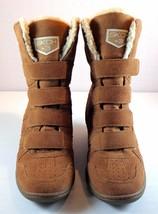 SKECHERS SKCH +3 Brown Hidden Wedge Boots Women's Size 10 Faux Fur Lining - £55.27 GBP