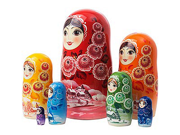 "Rainbow Nesting Doll - 8"" w/ 7 Pieces"