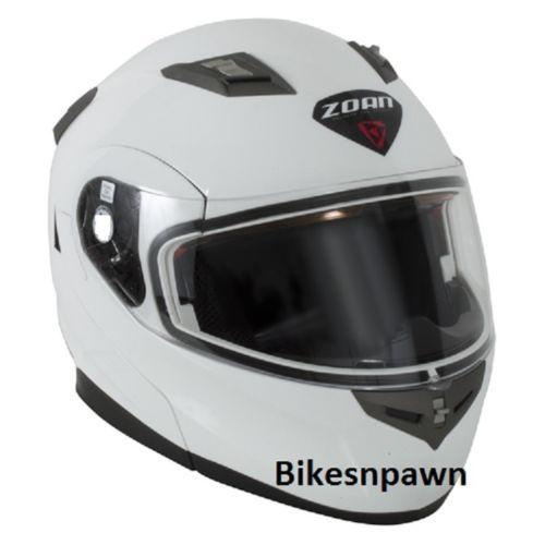 2XL Zoan Flux 4.1 White Modular Snowmobile Helmet w Electric Shield  037-008SN/E