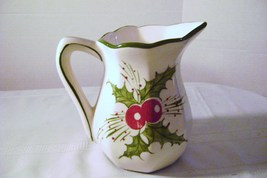 Ceramic Holly & Berry Pitcher made in Portugal - $10.00