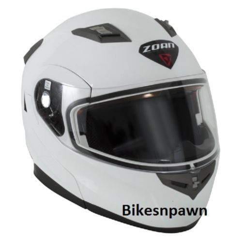 M Zoan Flux 4.1 White Modular Snowmobile Helmet w/ Electric Shield  037-005SN/E