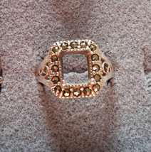 Vintage Sterling and Marcasite Setting for 8mm Square Stone size 9 - $9.99