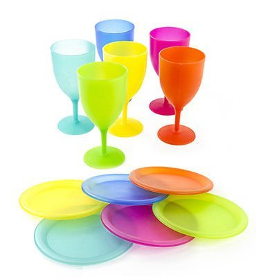 6 Pcs Reusable Plastic Picnic Set With Colorful Plates and Goblets