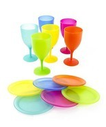 6 Pcs Reusable Plastic Picnic Set With Colorful Plates and Goblets - £17.36 GBP