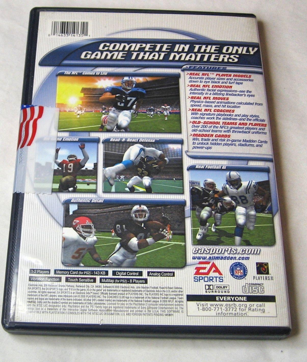 Madden NFL 2001 Sony PlayStation 2, 2000, Football FREE SHIPPING U.S.A.