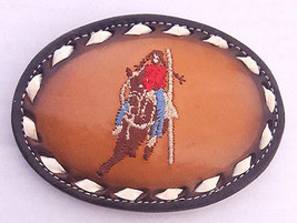 Vtg Tony Lama Belt Buckle-# 4801-Leather & Metal-Embroidered Horse Rider... - $21.49