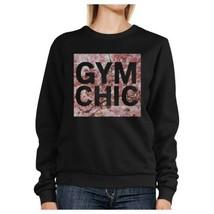 Gym Chic Black Sweatshirt Work Out Pullover Fleece Sweatshirts - $20.99+