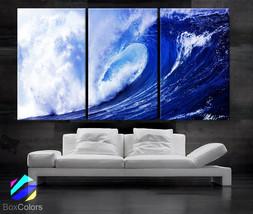 "LARGE 30""x 60"" 3 panels Art Canvas Print  Beach Ocean Sea Wave Blue Whit... - $116.00"