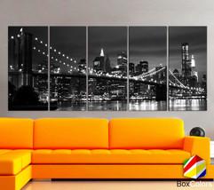 "XLARGE 30""x 70"" 5 Panels Art Canvas Print New York Brooklyn bridge sklin... - $139.00"